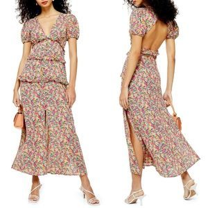 NEW TOPSHOP Floral Print BUTTON FRONT Maxi DRESS